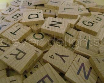 200 SCRABBLE TILES - Scrabble Pendant Pieces - Two Complete 100 Piece Sets  - Wood Pieces - Scrabble Letters - Full Game Set
