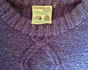 Vintage Inishowen Donegal Ireland New Wool Sweater Handloomed