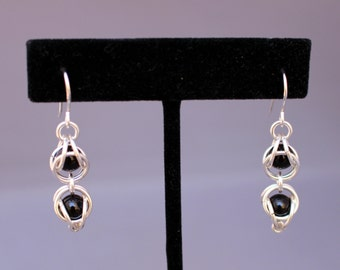 Black Onyx Crazy Eight Chain Maille Earrings