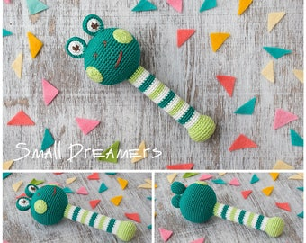 Frog rattle Crochet rattle Baby rattle toy Crochet toy Baby gift Organic teether Cotton yarn Baby Shower gift Baby teething toy Newborn gift