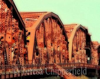 Broadway Bridge Photo, Portland Oregon Photo, Orange Bridge Wall Art Print, Urban Bridge Photo, Bridge Architecture Print, Steel, Soft Image