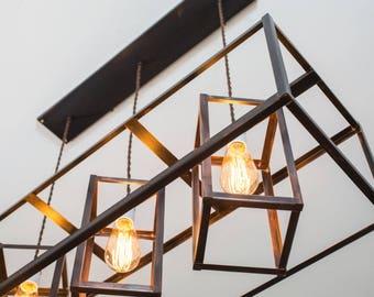 Rustic Industrial Chandelier Lighting - Minimalist Copper Geometric Edison Bare Bulb - Modern - Farmhouse - Oil Rubbed Bronze