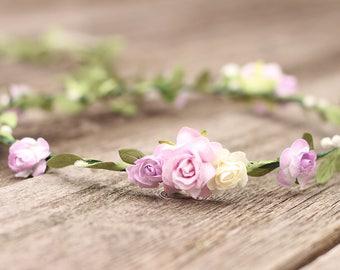 Floral Crown Lavender Flower Crown, Lilac Flower Crown Child Flower Crown, Wedding Floral Crown, Purple Hair Wreath, Wedding Hair Crown Boho