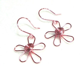 Aluminum Wire Flower Earrings, Light Pink (Or Choose Your Color)