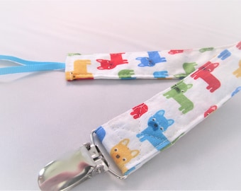 Universal Fabric Pacifier & Toy Clip - Mini Pups in Primary - Dogs Terrier - Paci Clip, Teether Clip, Binky Clip, Baby Shower Gift