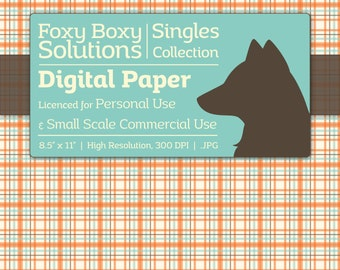 Plaid Digital Paper - Single Sheet in Orange - Printable Scrapbooking Paper