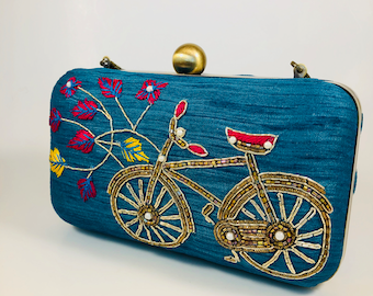 Unique bike embroidered fun clutch bag, sling bag, handbag, women bag