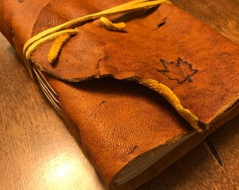 """Handcrafted Leather Journal - Acorn Brown - Maple Leaf Stamped - 4""""x6"""""""