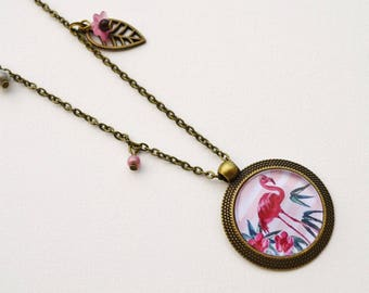 Pink Flamingo necklace, cabochon