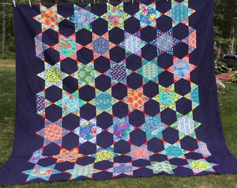 Queen Modern Quilt in array of Designer Fabrics