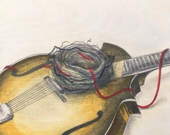 Print - Follow the sound home... - Mandolin and nest / bluegrass illustration