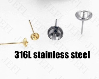 Wholesale 100 316L Stainless Steel Cup Post Earrings W/ 3mm/ 4mm/ 5mm/ 6mm/ 8mm/ 10mm cup for half drilled pearls or stones ear studs