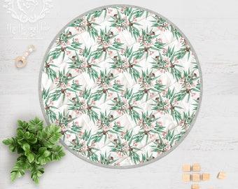 Australian Botanical Play Mat. Eucalyptus Gumnuts Soft Pink Gum Blossoms / Round Play Mat Handmade in Linen Cotton | Ships in 4-6 wks