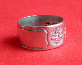 Vintage Sterling Silver Asian Symbols & Initial Band Ring - Repousse - Friendship - Sweetheart - Promise - Size 4 1/2 - Signed UNCAS