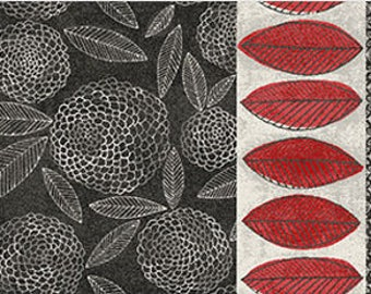 By The HALF YARD - Love More by Susan Black for P&B #311-R Large Red, Black, White Leaf Floral Border Stripe, Large Red Leaves are 2.5""