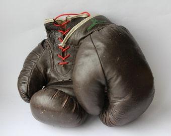 "Rare Soviet Boxing Gloves  ""Glavsportprom"" USSR. Vintage Boxing Gloves. Leather Gloves. Leather. Box. Sport. Antique  Boxing Gloves. Retro."