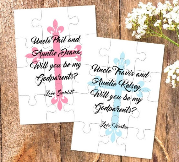 Godmother puzzle invitation Godmother gift Godfather card