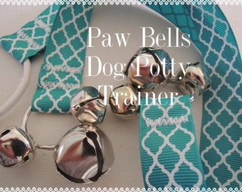 Paw Bells, Dog Housebreaking Potty Trainer, Dark Teal Quatrefoil, Instructions Included, FAST Shipping, Hook Add on available