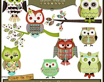 Hoot Owls - Retro Funk Paper Piecing Clipart Elements for Invitations, Card Design and Scrapbooking - Instant Download