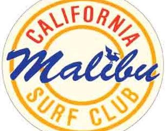 Vintage Style  Malibu Surf Club California Beach  Surfing  1960's   Travel Decal bumper sticker surf surfboard