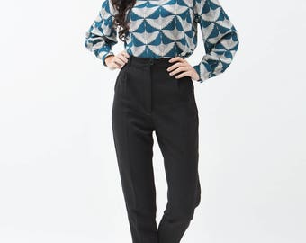 High Waisted Pants / High Waisted Trousers / Vintage Trousers / Vintage Pants / Black Pants