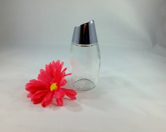 Vintage Glass Sugar Dispenser/Chrome/Sugar Bowl/Coffee/Tea/Kitchen Decor/Mid Century/Retro/Minimalist