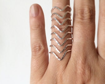 Chevron ring - Sterling silver chevron ring - v ring - stacking ring - knuckle ring - midi ring