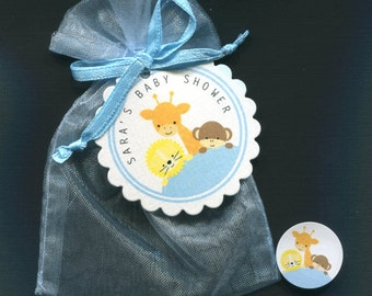 Personalized  Baby Shower Favor Candy Sets for Baby Boys, jungle animals, includes tags, candy stickers, blue organza bags, set of 60