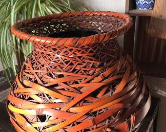 HUGE Japanese IKEBANA Handwoven Bamboo Basket SIGNED