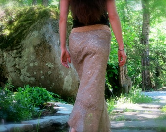 Gorgeous Gold Asymmetrical Skirt with Soft Ruffle: MADE TO ORDER