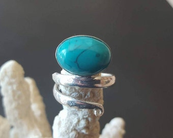 Turquoise ring, Turquoise silver ring, Silver turquoise ring, 925 solid sterling silver ring, sterling silver ring, Adjustable