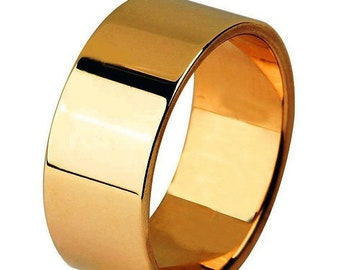 Mothers Day Sale 14 kt  Rose Gold Classic Smooth Cigar Style 8mm Wide Commitment or Wedding Band Custom made Size 9.5 through 14