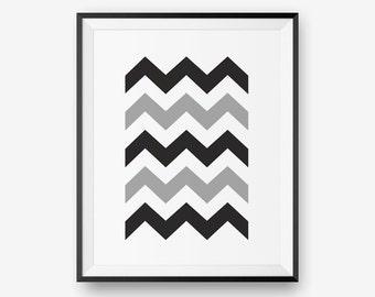 SALE Chevrons Wall Art, Black and white Print, Greyscale - Digital Download - Printable Art