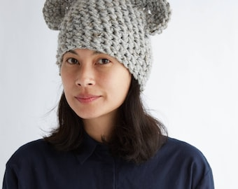 Gray Spekled Ear Hat