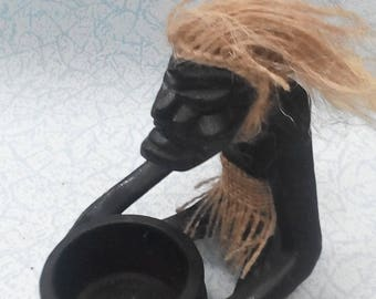 wooden statuette, a statuette of a man, a statuette in ethnic style, figurines in African style