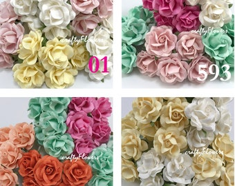 10  Mized Color Paper Flowers for Baskets Scrapbooks Wedding Faux Cupcake Cards Dolls Crafts Roses Variations Listing of zR77