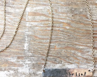 Be Kind - Rustic Hand Stamped Silver Aluminum Bar Necklace