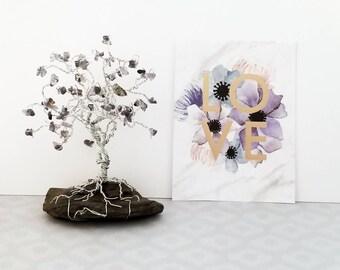 Iolite Gem Tree, Tiny Wire Tree, Wire Tree Sculpture, Third Eye Chakra, Yoga Decor, Meditation, Xmas Gifts, Healing Gifts