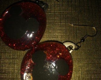 Mickey Mouse Earrings Marble Glass
