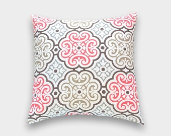 Bittersweet Pink Floral Throw Pillow Cover. 14x14, 16x16, 18x18, 20x20 or Lumbar. Coral Pink Cushion Cover.
