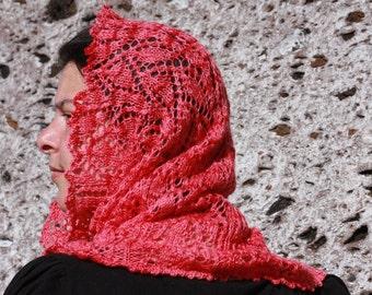 Pdf cowl knitting pattern, lace scarf, neckwarmer, Lacey