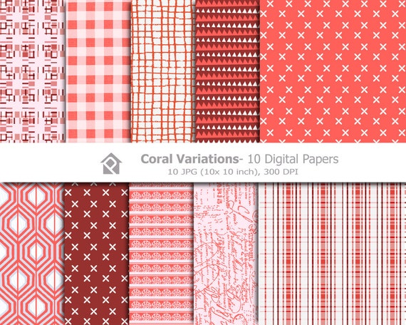 10 Coral Variations Digital Papers- Instant download digital clip art - 10 JPG files