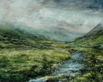 The Lake District Landscape Print Gatesgarthdale Beck  Honister Pass Signed Limited Edition Art Print from Original Oil Landscape Painting