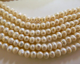 Beautiful Large Hole Potato Shape Pearls in Ivory Color.  For jewelry making. Approx. Size: 6-7mm.