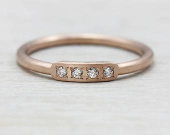 Bead Set Diamond Bar Ring, Womenu0027s Wedding Band Or Stacking Ring   Gold And  Palladium Available   Modern, Eco Friendly Ring   Minimal