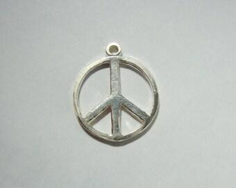 Handmade Peace Sterling Silver Pendant, 1 pc, 15 mm