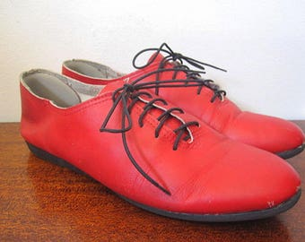 Vintage 80s Red Leather Oxford Flats Size 8.5