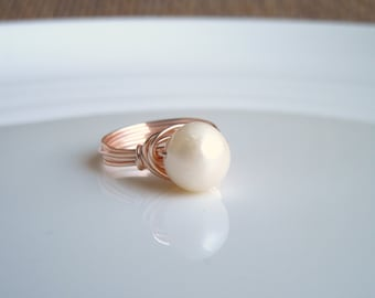 Pearl Ring Wire Wrapped Rose Gold Copper Sterling Silver 14K Gold Filled Size 3 4 5 6 7 8 9 10 and 1/2