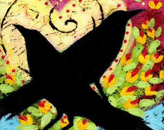 Love birds art, Raven art, Whimsical art, Romantic art, Love paintings, Anniversary gift, Unique Gifts for Women, Lindy Gaskill