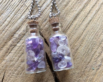 Gemstone vial with ball chain necklace